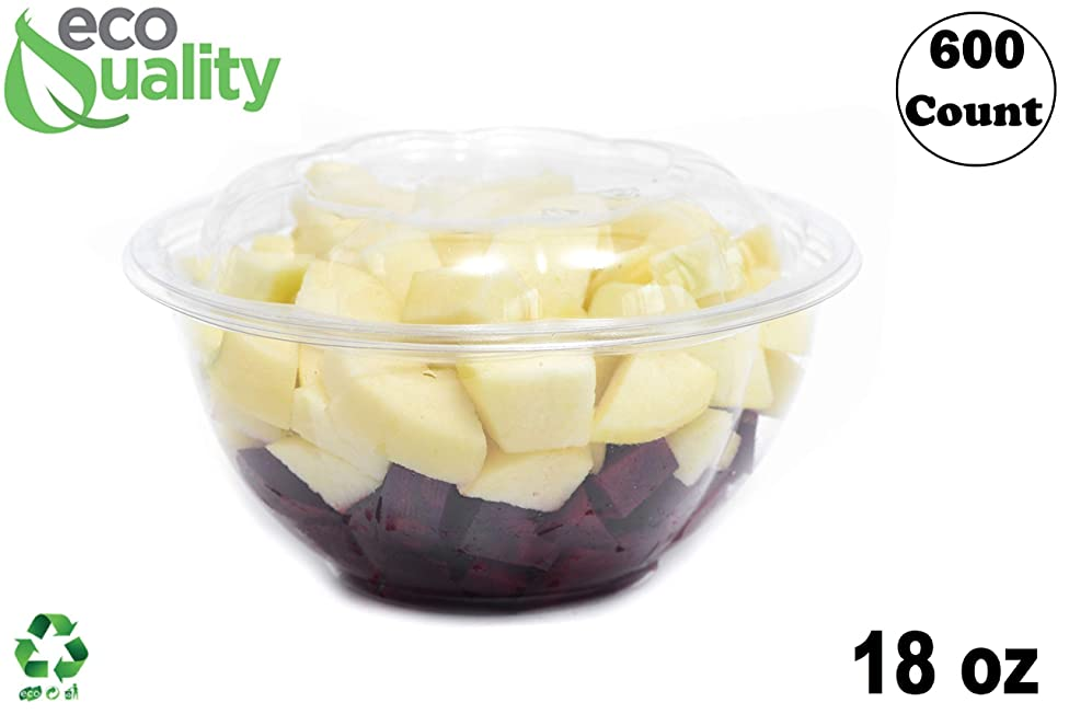 18oz Clear Disposable Salad Bowls with Lids (600 Pack) - Clear Plastic Disposable Salad Containers for Lunch To-Go, Salads, Fruits, Airtight, Leak Proof, Fresh, Meal Prep | Rose Bowl Container (18oz)
