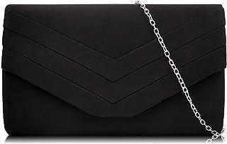 Milisente Damen Clutch, Wildleder Abendtasche Hochzeit Tasche Clutch Bag Elegante Umschlag Crossbody Schultertasche Umhäng...