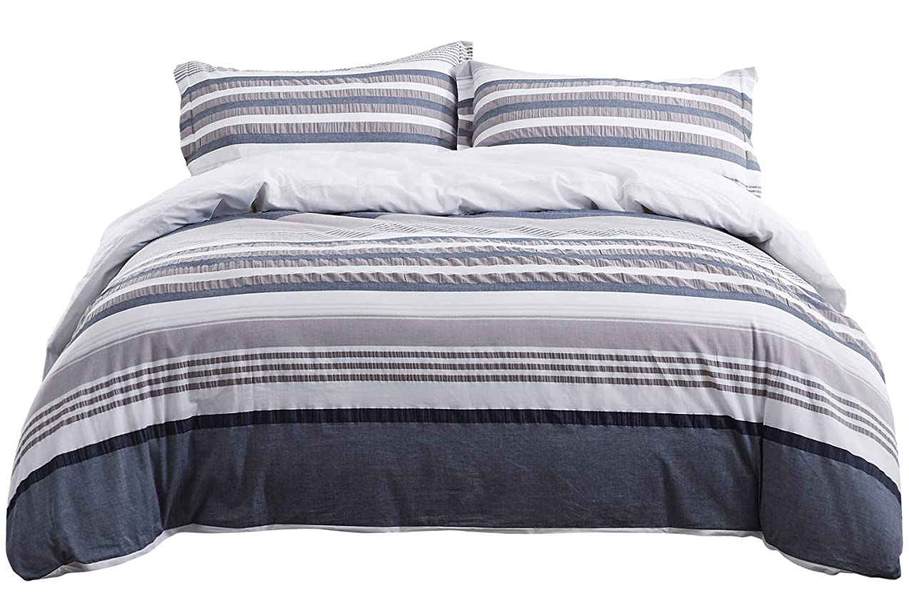 PHF Cotton Seersucker Yarn Dyed Duvet Cover Set with Corner Ties Cool Breathable Lightweight Bedding 3 Pieces King Size Navy Grey