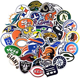 62 Pcs Trendy MLB & NFL Team Logo Waterproof Vinyl Sport Stickers for Laptop Computer MacBook Tablet Hydroflasks Waterbott...
