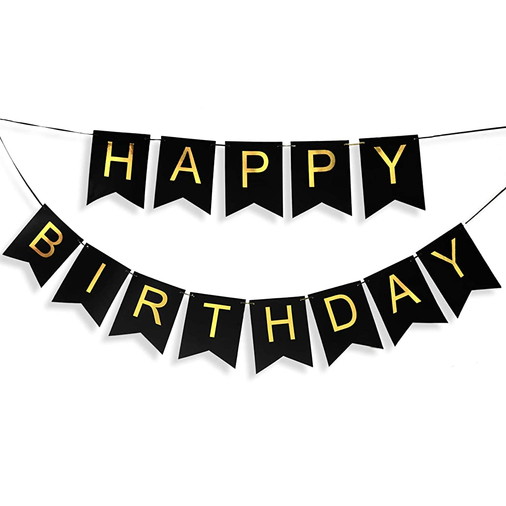 Black Birthday Banner with Gold Letters, Happy Birthday Bunting Banner for Kids or Adults, Swallowtail Flag Sign for Birthday Decoration, Party Supplies