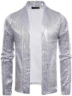 Schoon Mens Pailletten Party Slim Fit open voorzijde sjaalkraag Classic Cardigan Jacket Opgeruimd