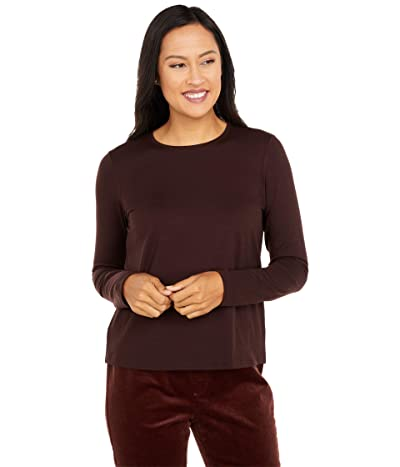 Eileen Fisher Crew Neck Top (Dark Brown Stone) Women
