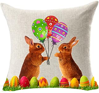 Spring Season's Greetings Animal Adorable Rabbit Bunny Couple Courtship Color Eggs Balloons Happy Easter Gifts Cotton Line...