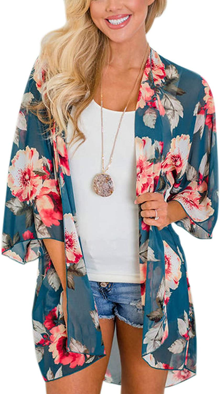 Zexxxy Women Floral Print Kimono Sheer Cardigan Chiffon Sle Half Direct sale of manufacturer Genuine Free Shipping