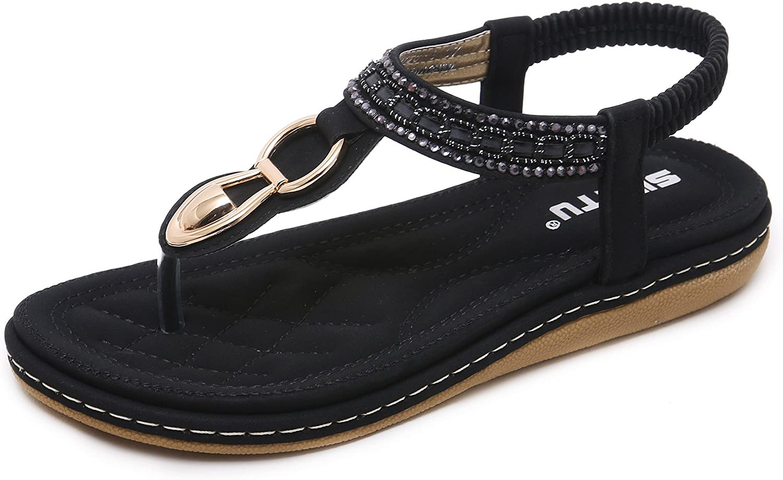 colorxy Women Strap Flat Sandals shoes - Summer Bohemian Ankle T Strap Thong shoes Ladies Strappy Flip Flops Sandals