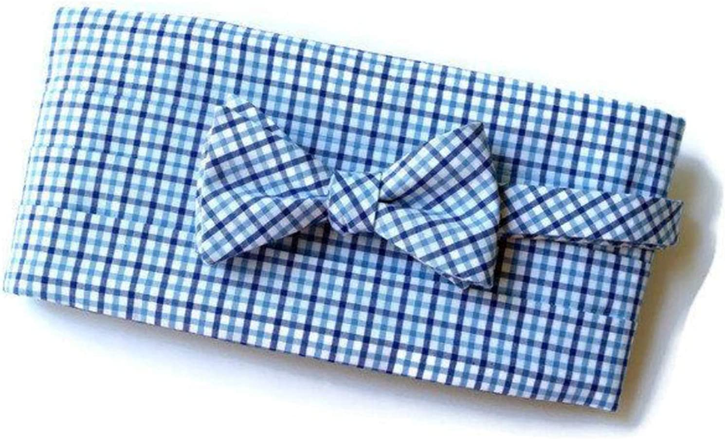 Navy and Blue Tattersall Tuxedo Set Tie Bow Ranking TOP7 Cummerbund SEAL limited product