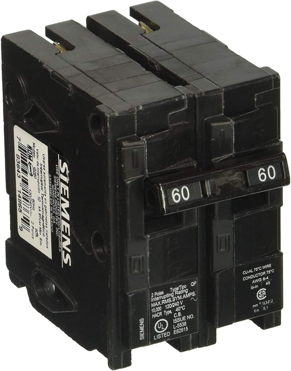 Q260 60-Amp Double Pole Type QP Circuit Breaker - - Amazon.com | Two 60 Amp Fuse Box |  | Amazon.com