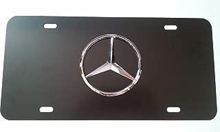 JCL Mercedes Benz Black Aluminum Front License Plate with Caps CLA CLS C E S SL SLK GL