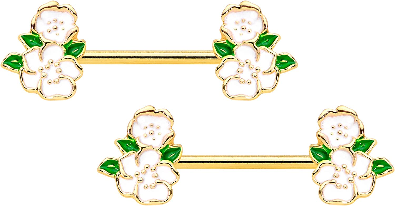 Body Candy 14G Womens Nipplerings Piercing PVD Stainless Steel 2Pc White Spring Flower Nipple Ring Set 9/16
