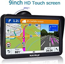 Car GPS,9 inch Truck GPS Touchscreen with Sunshade GPS Navigation System for Truck,8GB 256MB Navigation with POI Speed Camera Warning,Voice Guidance Lane,Free Lifetime Map Updates