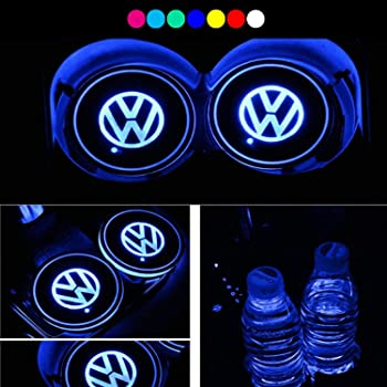 Posavasos LED para coche Logo 2pcs del coche LED Cup Holder Pad 7 colores que cambian de carga USB Botella Mats Posavasos de coches Ambiente l/ámparas de Hyundai de coches