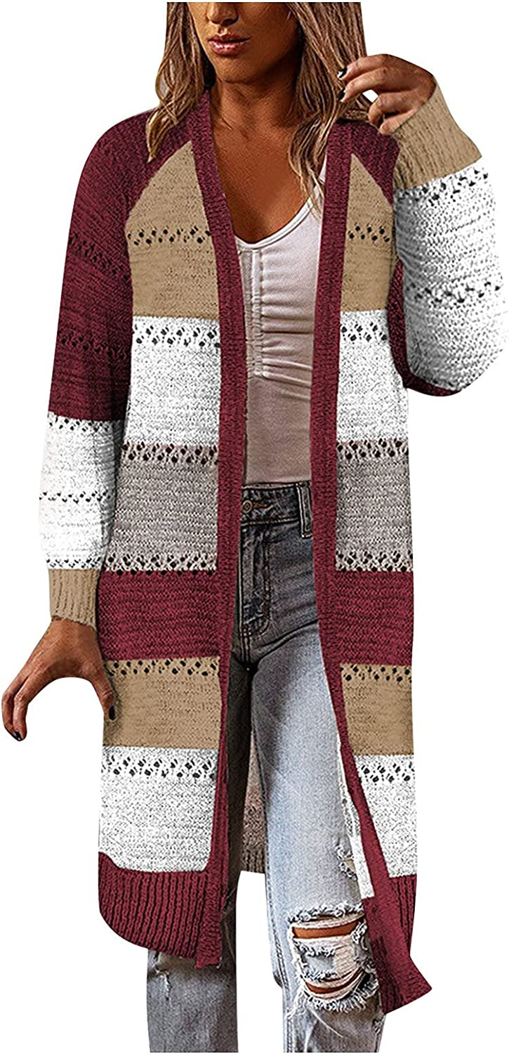 Long Cardigans for Women Knit Hollow Striped Patchwork Cardigan Sweater Loose Casual Lightweight Comfy Outwear