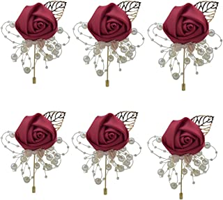 ZJCilected 6Pieces/lot Handmade Men's Lapel Satin Flower Pearl Decor Boutonniere Pin for Suit Wedding Groom Groomsmen Brooch Rose Boutonniere(Wine Red)