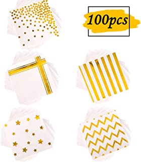 Whaline 100 Pack Gold Foil Cocktail Napkins, 3-ply, 6.5