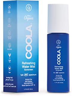 COOLA Organic Refreshing Water Mist Face Sunscreen, Full Spectrum Skin Care with Coconut & Aloe Water, Broad Spectrum SPF ...