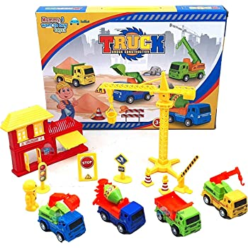 FunBlast Little Engineer Pull Back Construction Truck Toys – 4 Pcs Vehicles Play Set with Construction Accessories Toys and Games for Kids|Boys