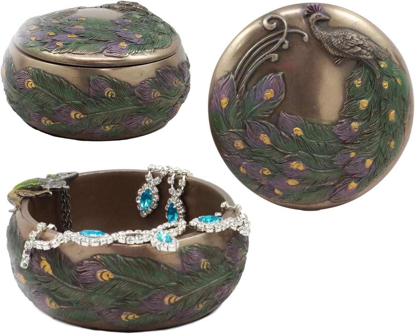 New Beautiful Iridescent Tailed Max 40% OFF Peacock Box Jewelry Round Figuri Dealing full price reduction