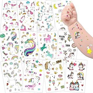 Tatuering barn, sporgo enhörning tatueringsset, 300 stycken enhörning tatueringar barn, enhörning och regnbåge tillfälliga...