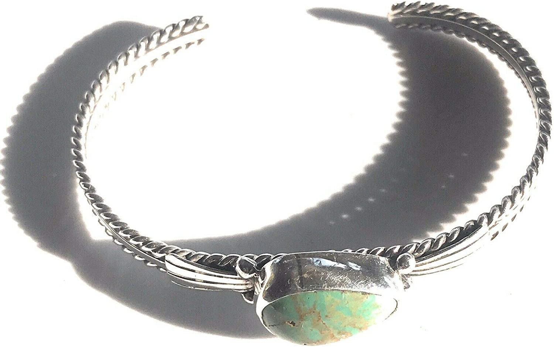Nizhoni Traders LLC service Sterling Silver Cuff Max 48% OFF Green Bracelet Stacker