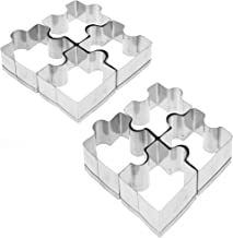 EPRTA 2 Sets Stainless Steel Cookie Cutters Puzzle Biscuit Molds Fondant Metal Jigsaw Cutter Baking Tools for Decoration, Kids Playing,Sugarcraft, Party, Birthday, Gift, 8 Pieces