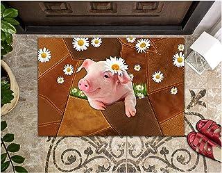 LIFESELAZ Pig Daisy Leather Patchwork Door Mat Welcome Hello Entrance Indoor Outdoor Non-Slip Rubber Doormat (Brown, S (1...