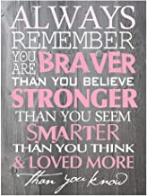 BEROSS Always Remember You are Braver Than You Believe – 8 x 11.75 Inch Inspirational Gifts Positive Wall Plaque Saying Qu...