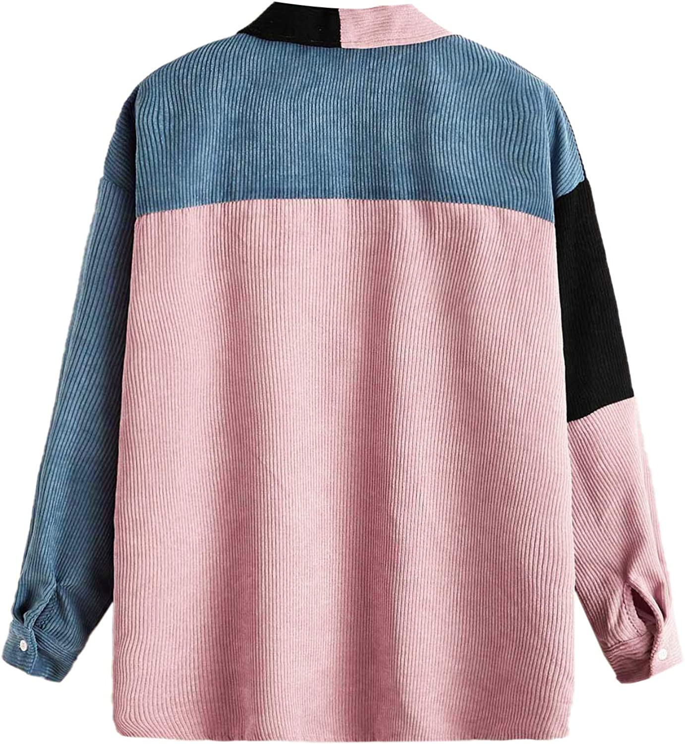 Romwe Women's Collar Button Down Colorblock Long Sleeve Casual Jacket Outwear with Front Pockets