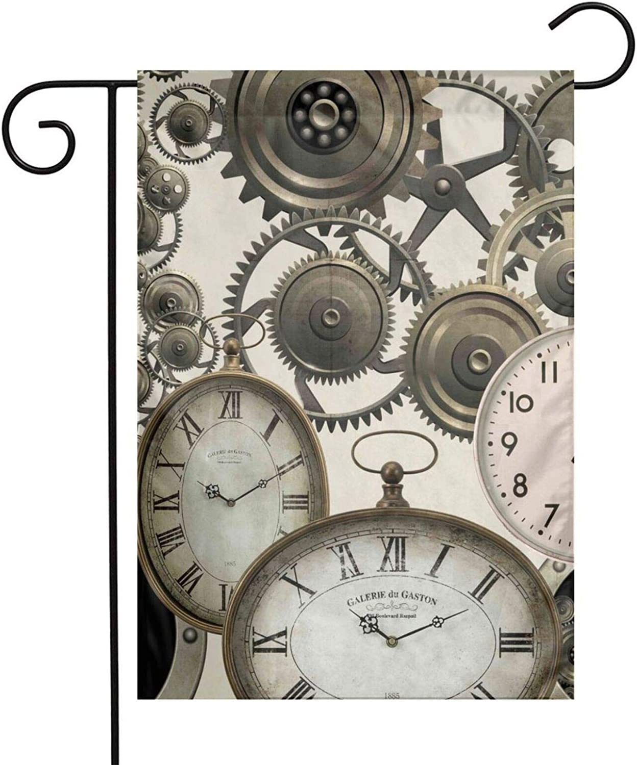 Vintage Steampunk Clocks Garden Flags Home Indoor & Outdoor Holiday Decorations,Waterproof Polyester Yard Decorative for Game Family Party Banner
