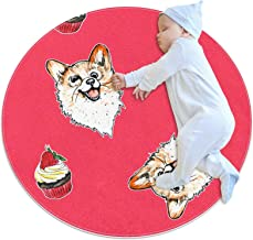 Rött valptårtmönster, barn rund matta polyester överkast matta mjuk pedagogisk tvättbar matta barnkammare tipi tält lekmatta