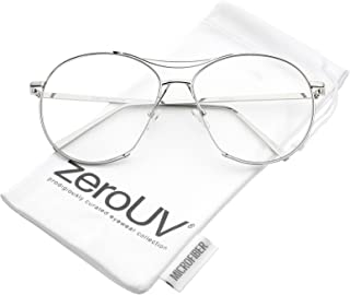 zeroUV - Oversize Semi-Rimless Brow Bar Round Clear Flat Lens Aviator Eyeglasses 59mm