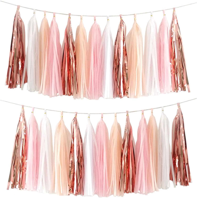 Pink Peach White Navy Tassles- Macaroon Tassel Banner Shower Girl Birthday Backdrop DIY Party Decor 15+ Tassel Garland