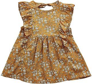 Tonsee 子供 ワンピース 女の子 夏 袖なし 花柄 ドレス ビーチ パーティー 旅行 お出かけ カジュアル 80CM-110CM