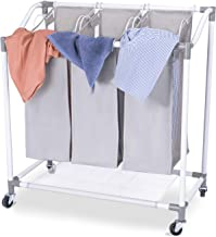 Laundry Sorter Basket 3 Sections, Heavy Duty Rolling Laundry Hamper Cart with Removable Bags for Clothes Storage