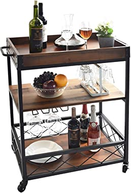 charaHOME Solid Wood Kitchen Serving Carts Rolling Bar Cart with 3 Tier Storage Shelves Kitchen Island Cart with Wine Glass H