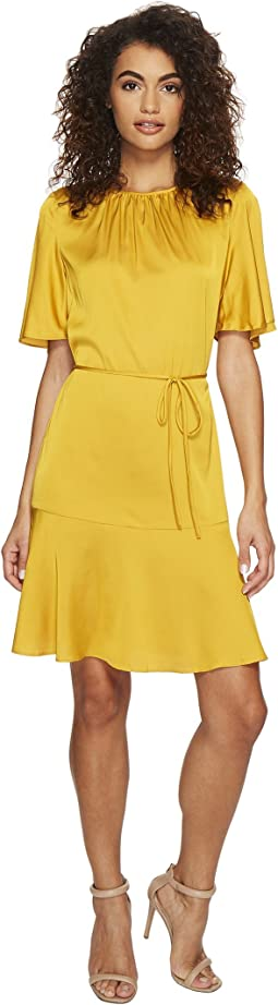 Donna Morgan - Flared Dress with Shirred Neckline and Belt