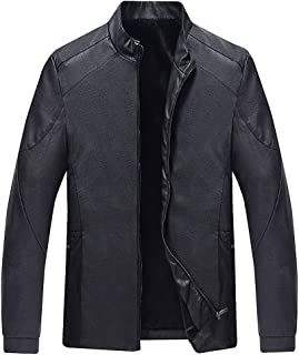 wuliLINL Faux Leather Jacket for Men,Fashion Casual Winter Zipper Long Sleeve Thickening Lined Coat