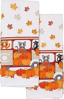Halloween Fall Magical Black Cats Moonlight Pumpkins, Bats, Car and Van Kitchen Dishtowel Set of 2 Soft Large Cotton Tea T...