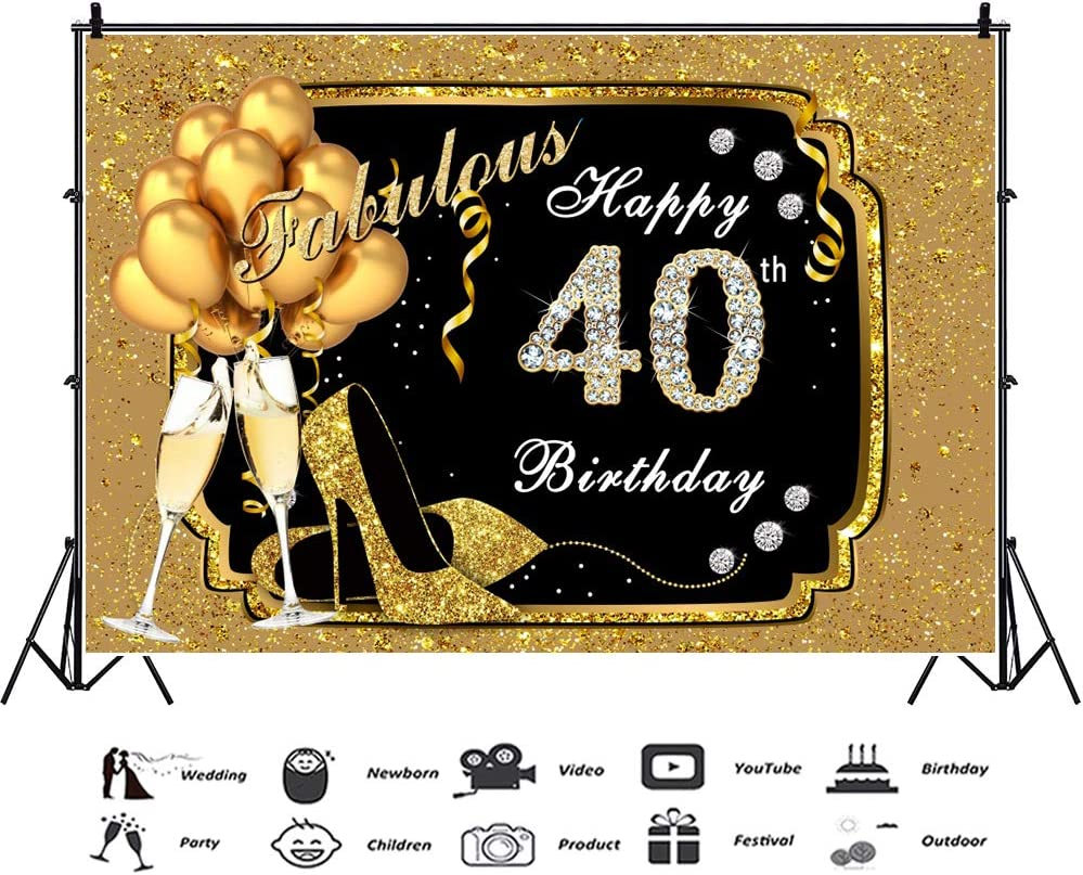 YEELE 40th Backdrop for Photography 10x8ft Diamond Party Forty Years Old Party Golden Sparkling Photography Background Lady Gentleman Portrait Party Table Decoration Photobooth Props Digital Wallpaper