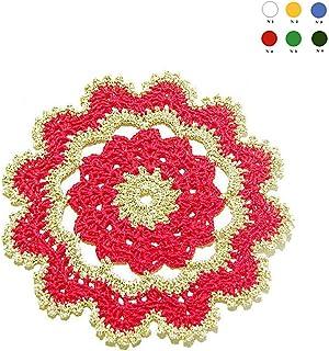 Posavasos rojo y dorado de ganchillo para Navidad - Tamaño: ø 15.5 cm - Handmade - ITALY