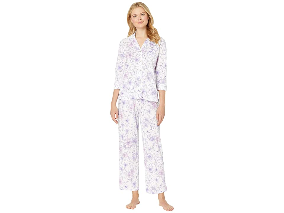 Carole Hochman Notch Collar Pajama Set (White Watercolor Floral) Women