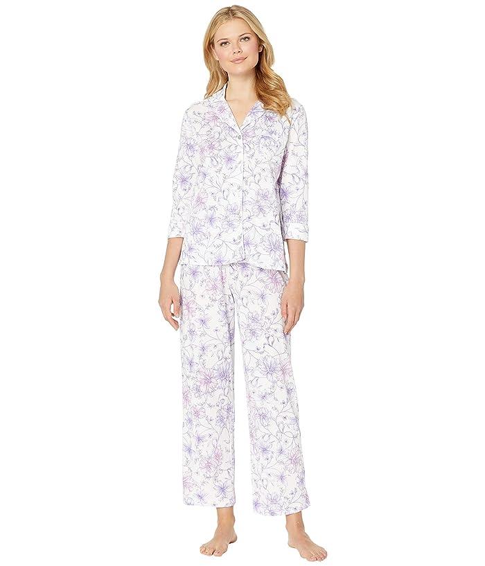 Carole Hochman Notch Collar Pajama Set (White Watercolor Floral) Women