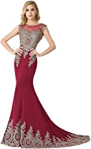 MisShow Women's Lace Embroidery Maxi Mermaid Formal Evening Prom Dresses
