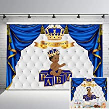 Mehofoto Royal Baby Shower Backdrop Ethnic Little Prince Gold Grown Photo Background 7x5ft Royal Blue and Sliver Backdrops for Baby Shower Decorations