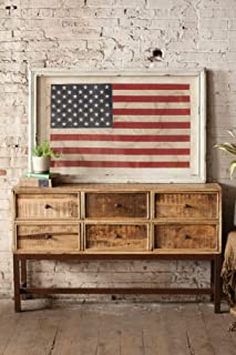 Kalalou Large Framed American Flag Under Glass Wall décor, One Size, Red/White/Blue