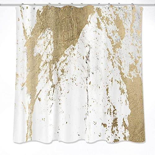 LB Abstract Marble Texture Shower Curtain DecorOld Tattered Style Fabric Curtains Water Resistant