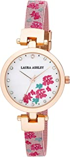 Laura Ashley Womens LA31079PK Pink Round Case with Printed Floral Mesh Strap Watch