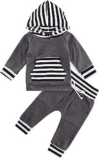 Kids4ever Baby Jungen Babykleidung Neugeboren Kapuze and Hosen Bekleidungsset 3D Aufdruck Strampler Outfits für 0-24 Monat Kleinkinder