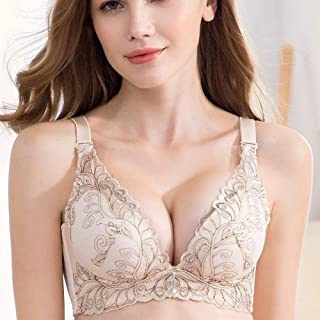 SHENTIANWEI High-end embroidery without steel ring gather large size ladies underwear festive red bra autumn and winter new products (Color : Skin, Size : 90C)