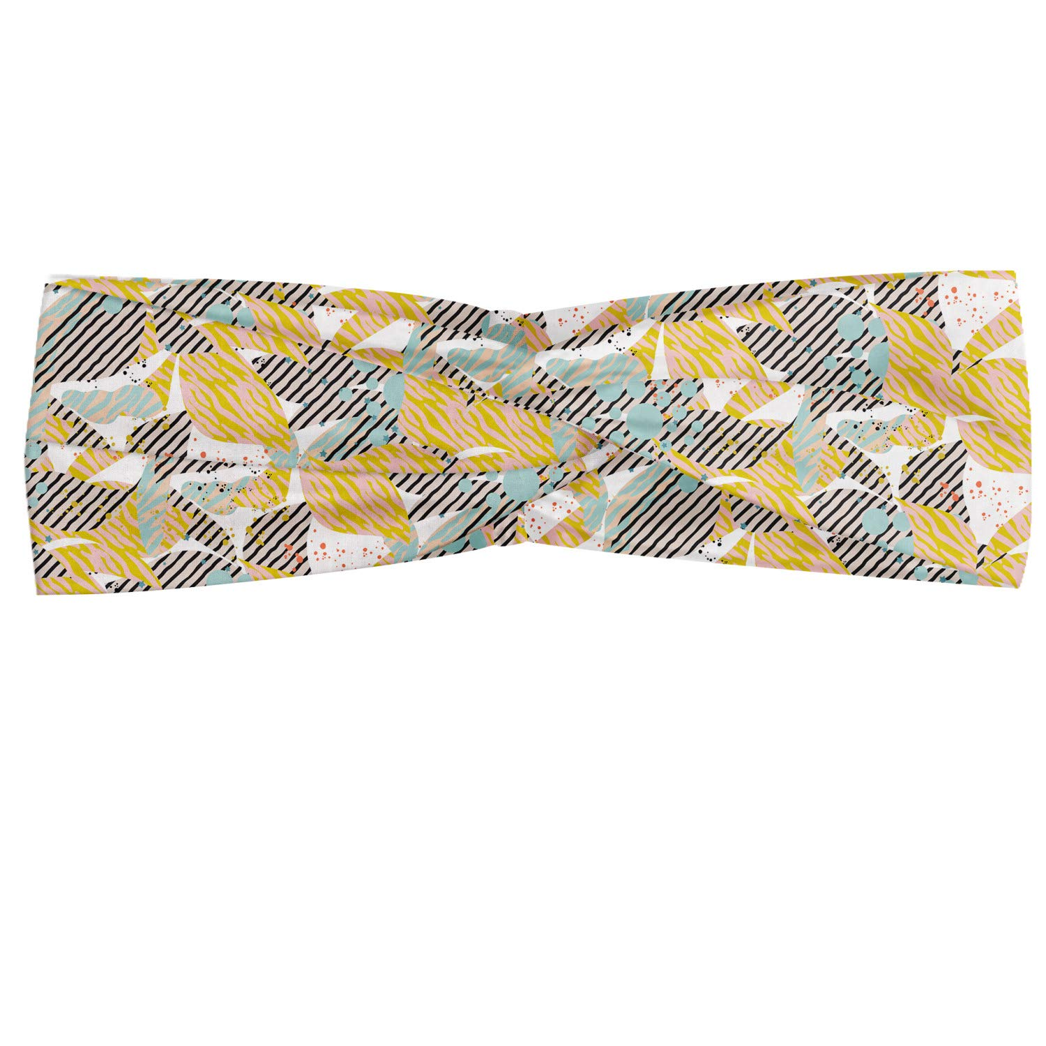 Ambesonne Floral Headband, Abstract Digital Artwork with Stripes Flowers and Grunge Paint Splashes Image, Elastic and Soft Women's Bandana for Sports and Everyday Use, Multicolor